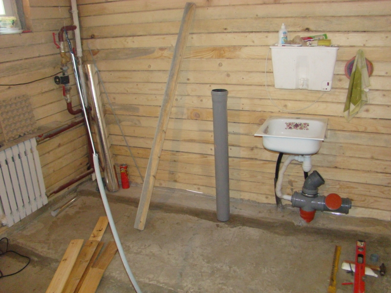 стяжка в коридоре - туалете